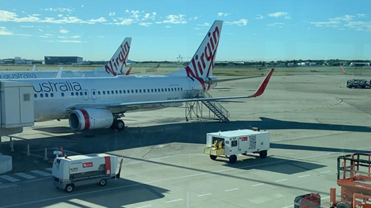 Virgin Australia plane at airport.