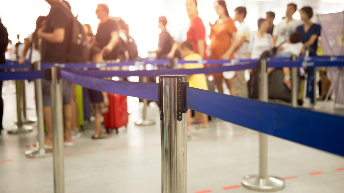 Security lines at an airport